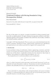 variational problems with moving boundaries using decomposition method
