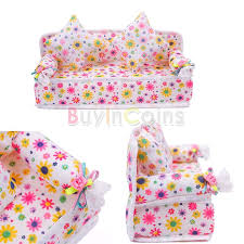 mini furniture flower sofa couch 2 cushions for barbie doll house