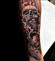 Forearm Skull - mens rosaries tattoos with skull on forearm tattoos