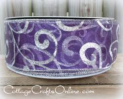 christmas wired ribbon 2 1 2 wide purple sheer silver