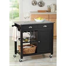 kitchen storage cart wood rolling island granite top open shelves
