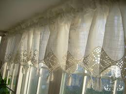 Crochet Kitchen Curtains by Set Of French Country Lace Crochet Cafe Kitchen Curtain With