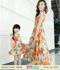 stylish mother and daughter matching summer dresses in india