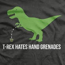 t rex hates grenades normal fit t shirt s gear