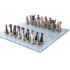 romans vs egyptians chess set with glass board 3 3 4 inch high