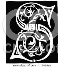 monogram letter s clipart of a vintage black and white monogram letter s royalty