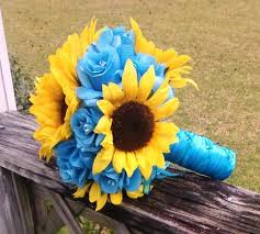 Sunflower Wedding Bouquet 17 Piece Sunflower Bouquet Malibu Blue Yellow Sunflower Bridal