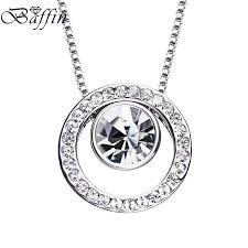 swarovski necklace round images Round pendant necklaces fashion silver color circles collier jpg
