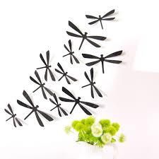 2017 12pcs 3d diy decor dragonfly home party wall stickers pvc art