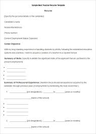 Teachers Resume Sample by Free Teacher Resume Template Format Word Sample