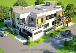3d front elevation com 1 kanal corner plot 2 house design