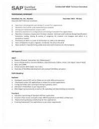 Sap Fico 2 Years Experience Resumes Sample Sap Resume Sample Resume For Sap Bi Consultant Sap Resumes