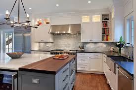 Kitchen Cabinets Open Shelving Farmhouse Sink Butcher Block Counter Kitchen Contemporary With