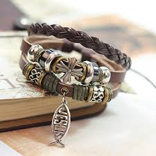 leather bracelet with cross images All about jesus leather bracelet free shipping worldwide jpg