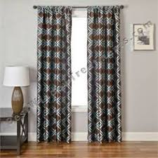 Brown Turquoise Curtains Booker Embroidered Chain Stitch Curtain Drapery Panel