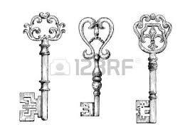 sketch of medieval skeleton keys adorned by victorian fleur de