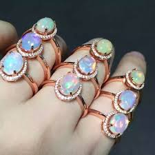 opal stone rings images Popular elegant simple round natural opal stone rings 925 sterling jpg