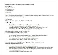 Coo Resume Templates Construction Resume Construction Resume Example General