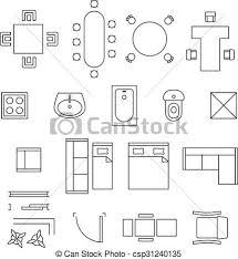 Kitchen Symbols For Floor Plans Vectors Of Furniture Linear Vector Symbols Floor Plan Icons Set