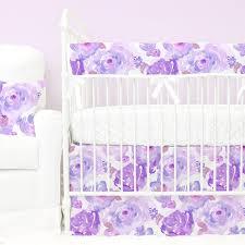 Lavender Butterfly Crib Bedding Floral Crib Bedding Baby Flower Bedding Caden