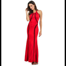 sexy color buy women body tight geometric stitching sexy red color party dress