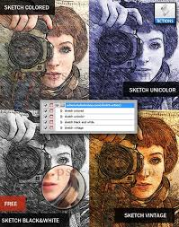 free photoshop actions sketch and painting effects set