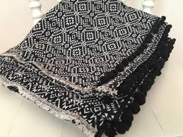 Aztec Design Rugs Aztec Rug Reversible Pom Pom Rug Black And White Pattern Throw
