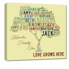 modern family tree word custom canvas gift for family s