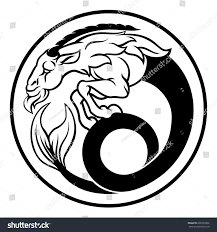capricorn sea goat horoscope astrology zodiac stock vector