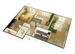 simple house plan with 2 bedrooms and garage 3d arts