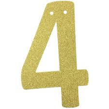 glitter number garland gold four 4