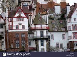 tudor style residential houses in edinburgh city centre stock