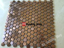 stainless steel mosaic tile backsplash penny round mosaic tile smmt020 gold metal mosaic wall tiles