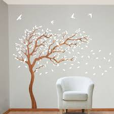my wonderful walls breezy tree wall decal and bird stickers in white and wood grain