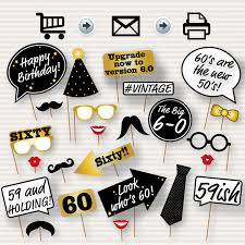 60th birthday party printable photo booth props glasses