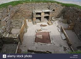 skara brae stone age houses orkney lay out of house stock photo