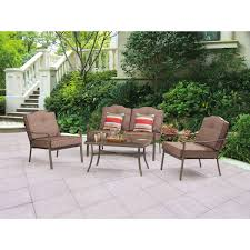 Target Plastic Patio Chairs by Mainstays Woodland Hills 4 Piece Chat Set Walmart Com