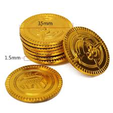 Treasure Chest Favors by 25pcs Plastic Gold Coins Pirate Treasure Chest Play Money Birthday