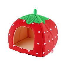 Igloo Dog House Parts Soft Strawberry Pet Igloo Dog Cat House Kennel Doggy Fashion