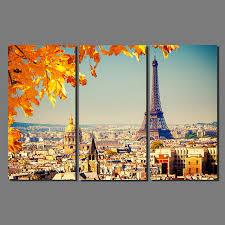 Eiffel Tower Garden Decor Modern City Paris Maple Leaf Drawing 3 Pcs Orange Scene Decoration