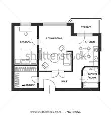 vector illustration architect plan house furniture stock vector