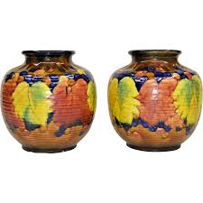 Ruby Vases Pair Colorful Vintage Awaji Pottery Vases From Tolw On Ruby Lane