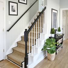 What Is A Banister Painted Staircase Makeover With Seagrass Stair Runner
