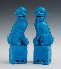 blue foo dogs pair of faience glazed foo dogs 05 28 11 sold 143 75