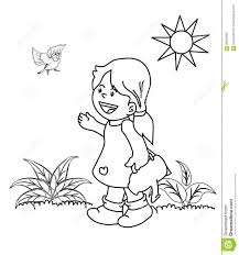 kid in the garden coloring page stock illustration image 86204905