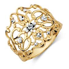 ring gold filigree ring in 10kt yellow white gold