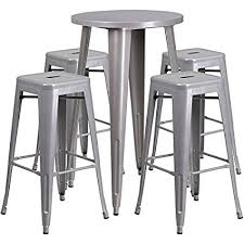 silver metal bar table amazon com 24 industrial round silver metal indoor outdoor