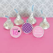 party favor labels personalized sweet 16 or 15 hershey s kisses labels