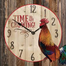 the beautiful rustic rooster wall clock is handcrafted here in the