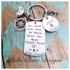 graduation keychain new driver keychain sweet 16 keychain all roads lead home